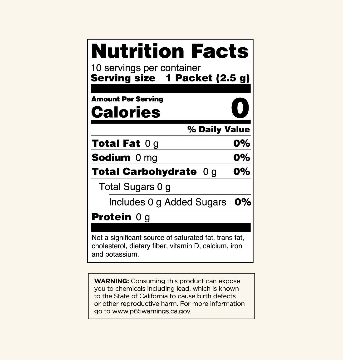 Mushroom Coffee with Chaga Nutrition Facts Panel