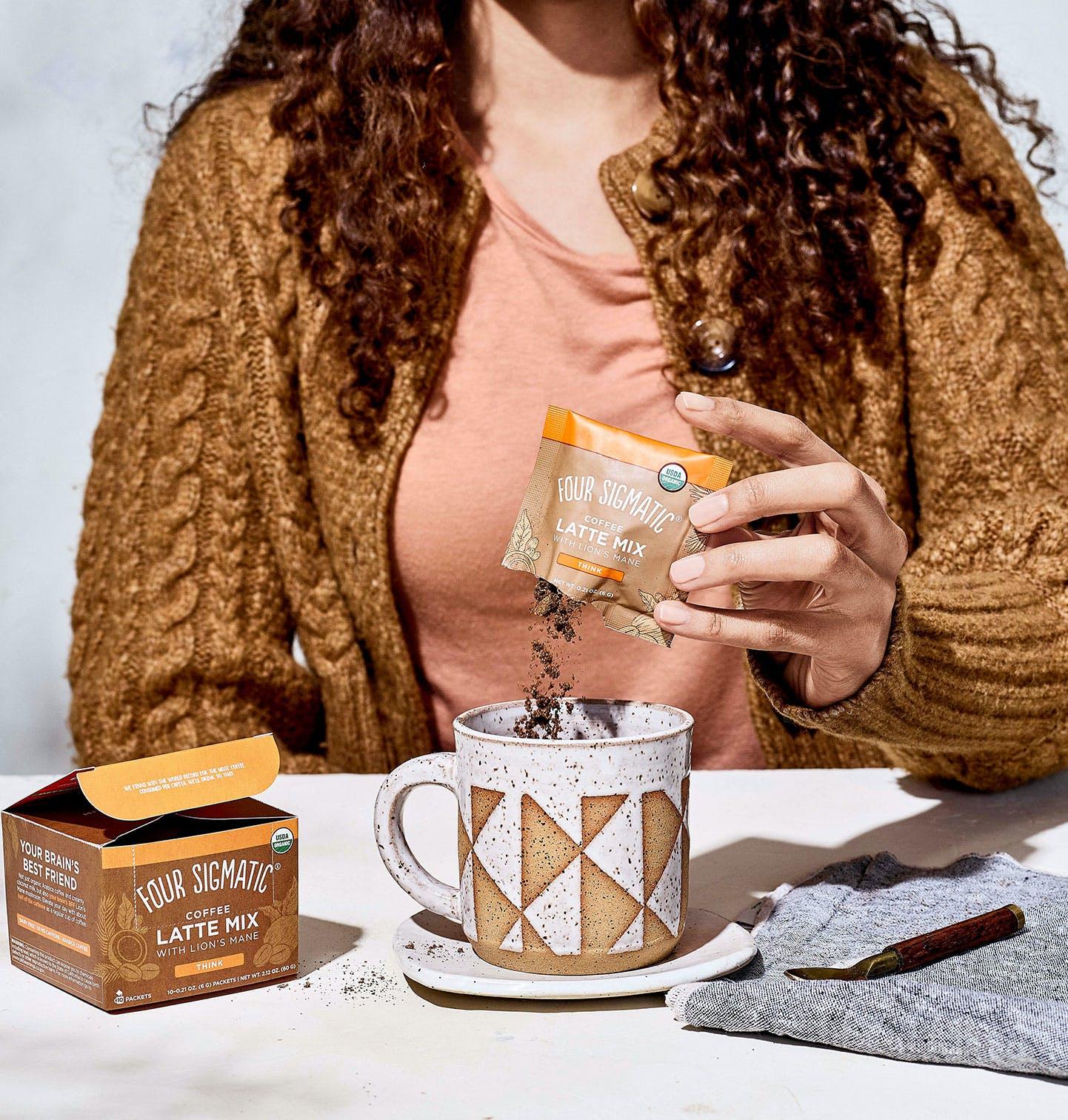 Mushroom Coffee latte Pour