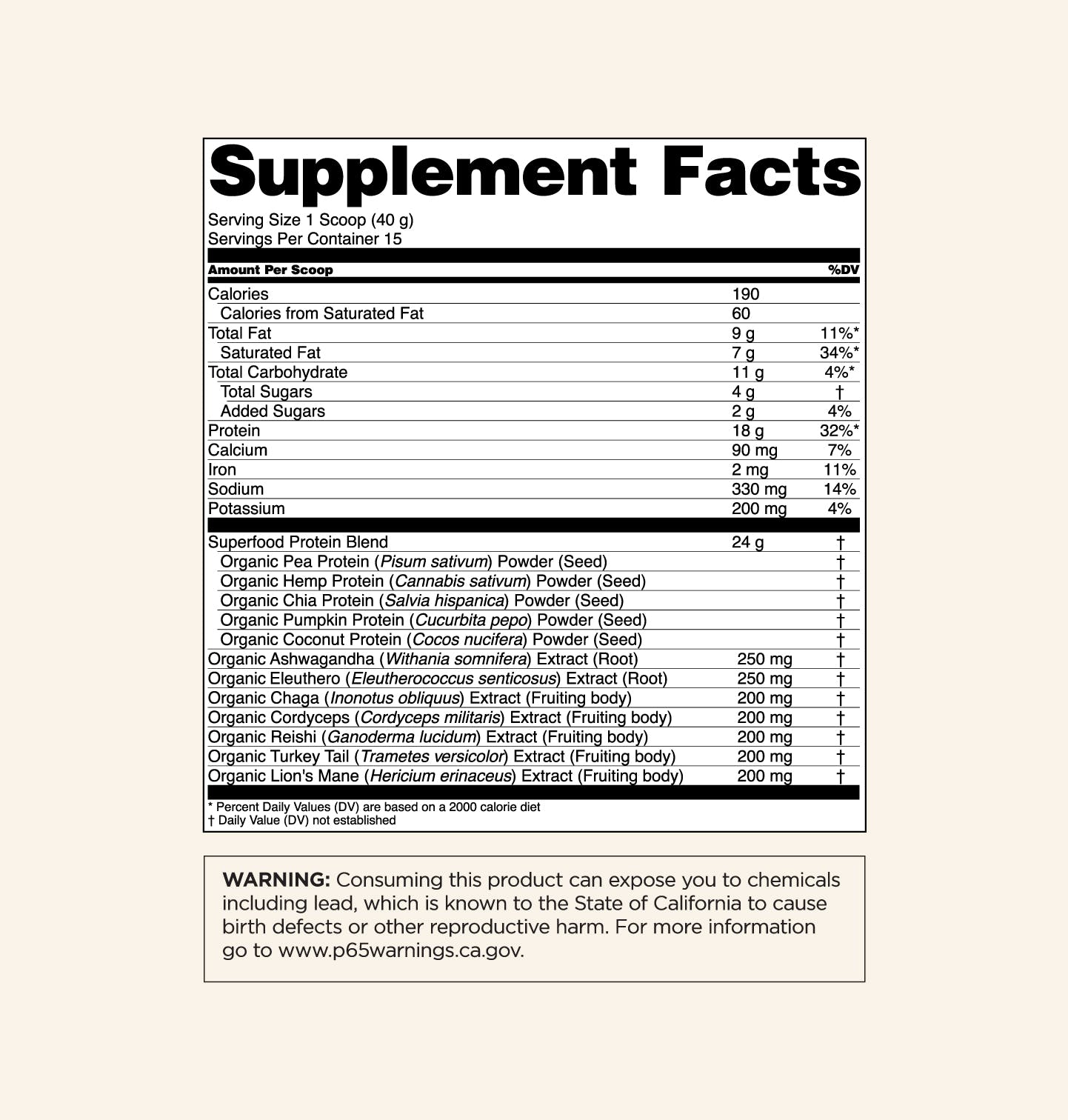 Plant-Based Protein - Sweet Vanilla - Supplement Facts Panel