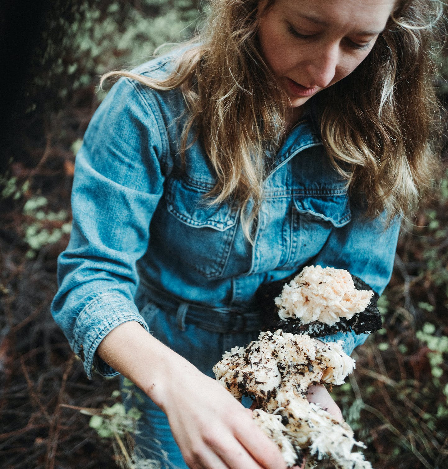 Danielle Picking Mushrooms