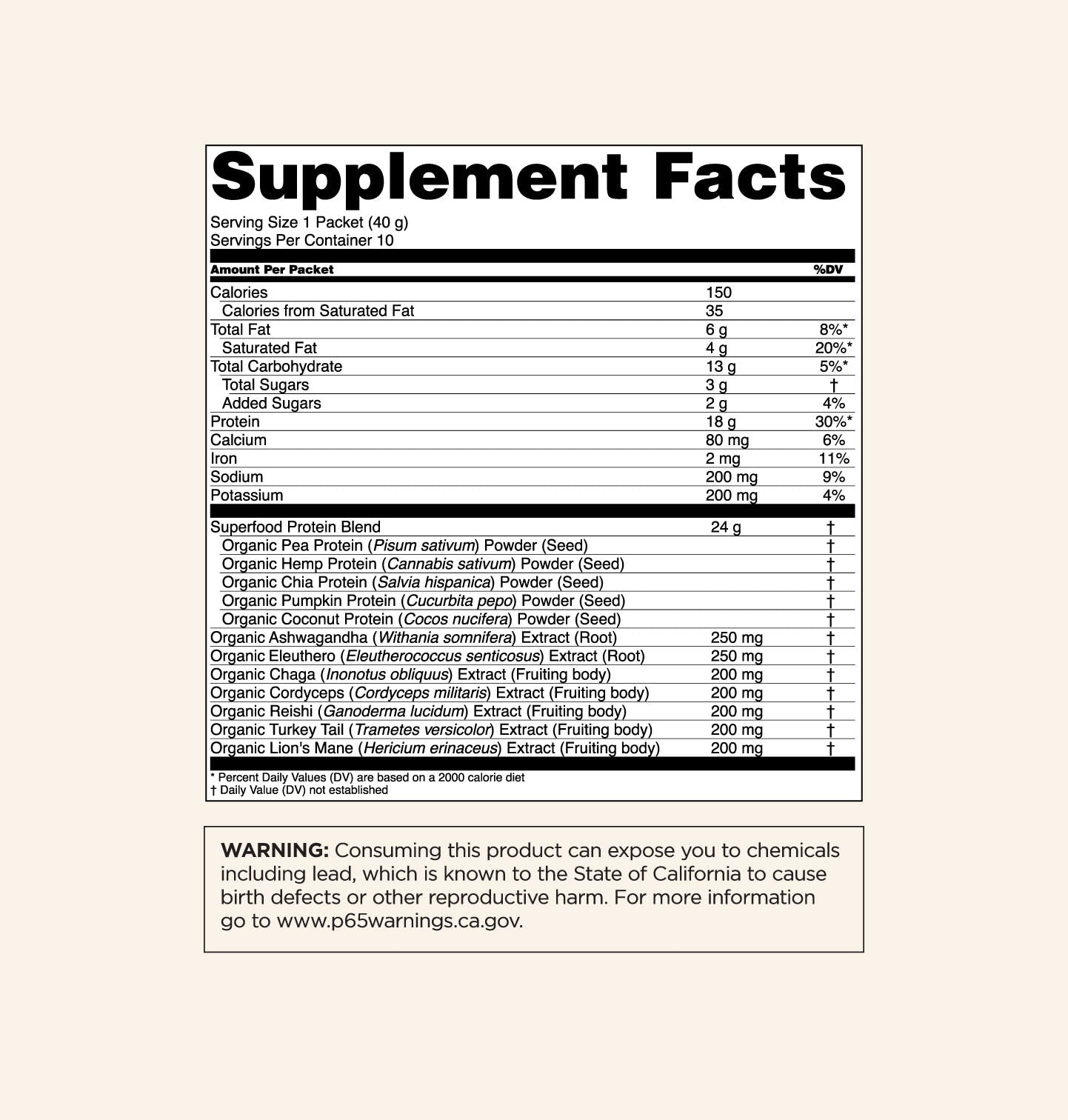 Creamy Cacao Supplements Facts Panel