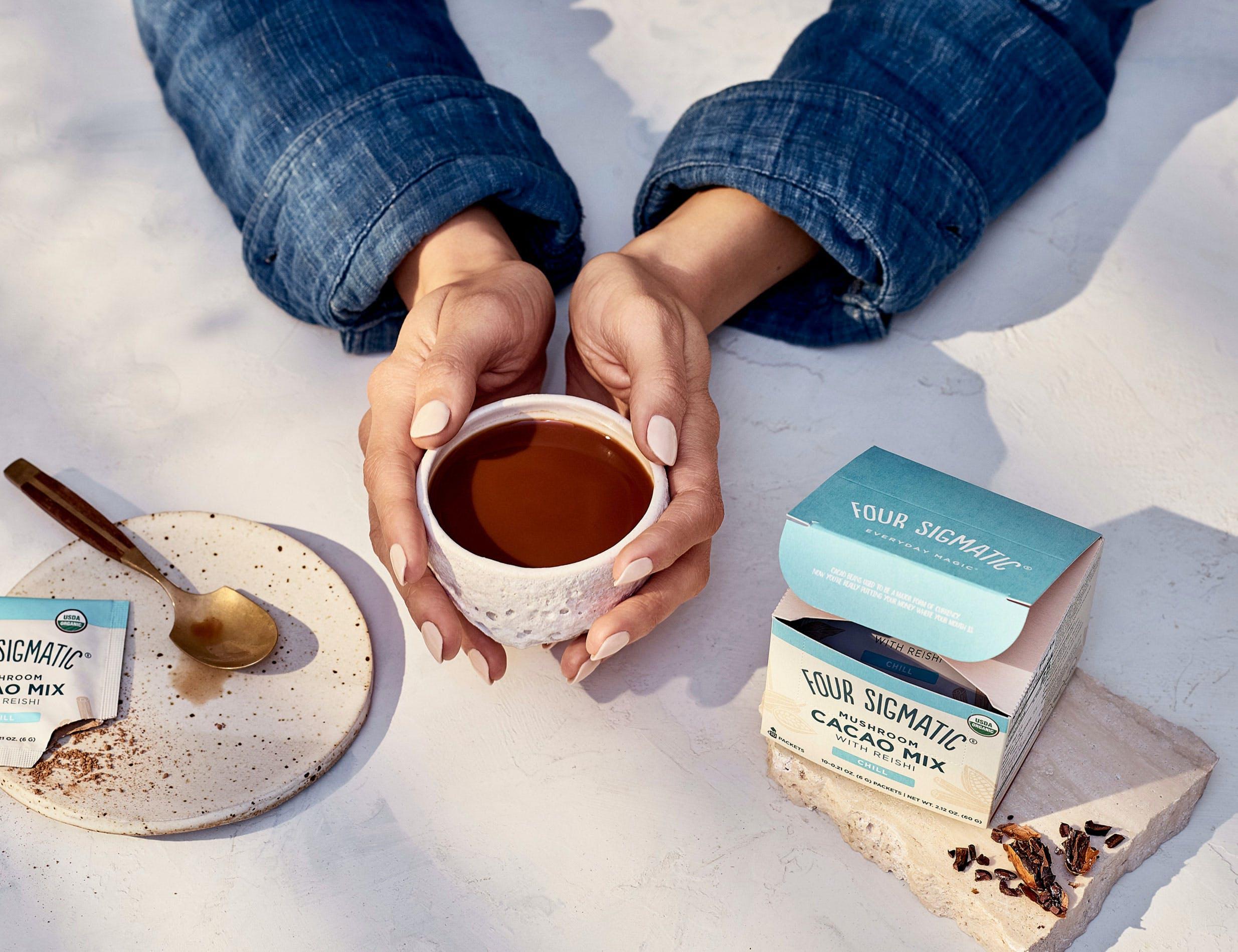 Drinking Mushroom Hot Cacao