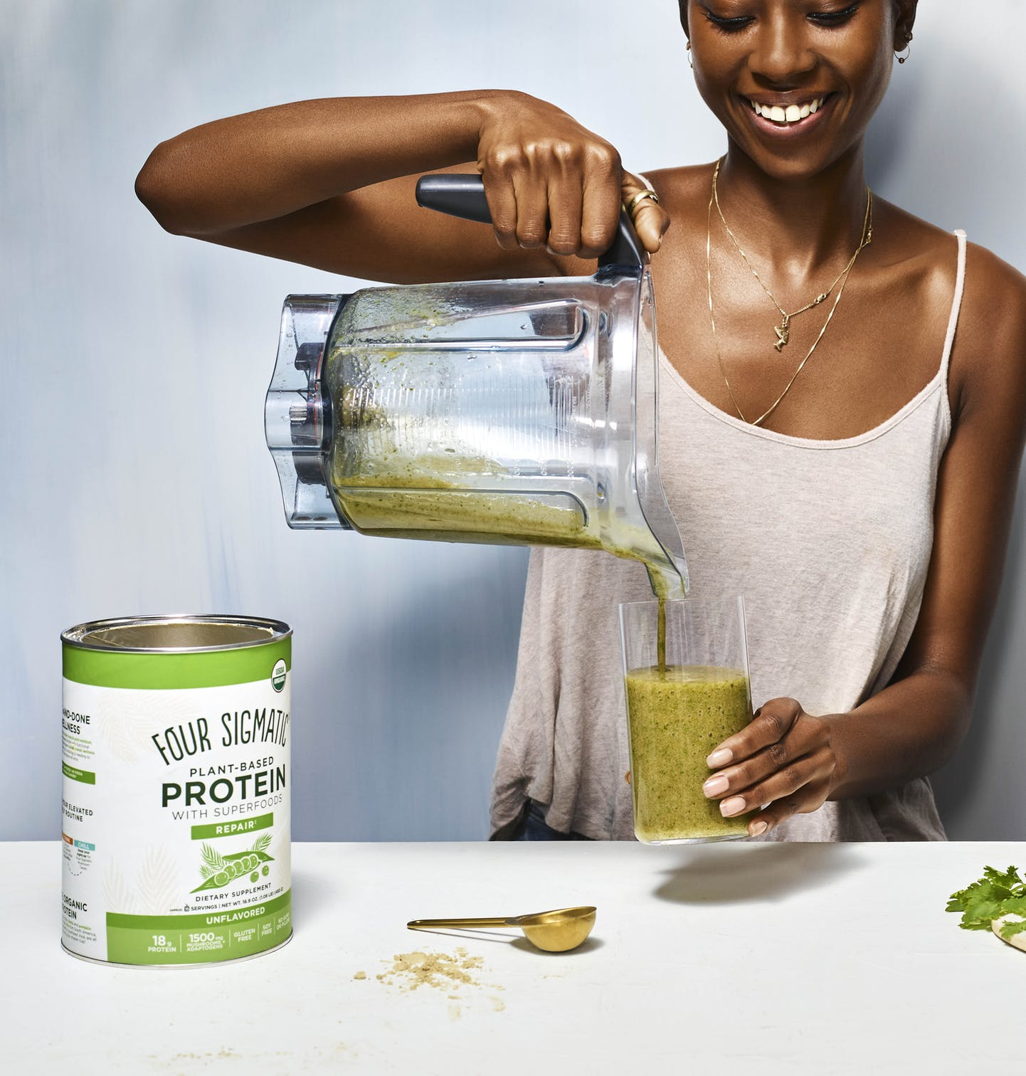 green smoothie with plant protein
