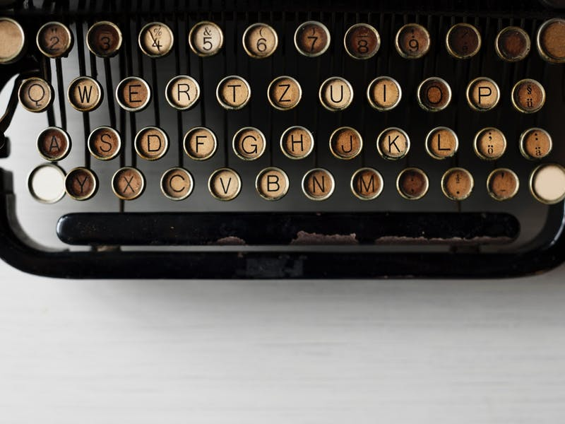 An old-fashioned typewriter keyboard.