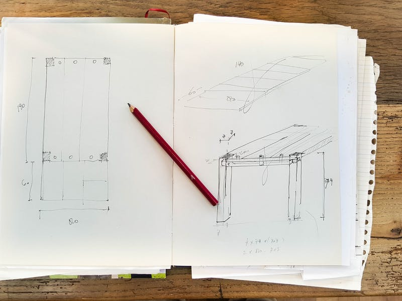 Blueprint drawing of a building frame.