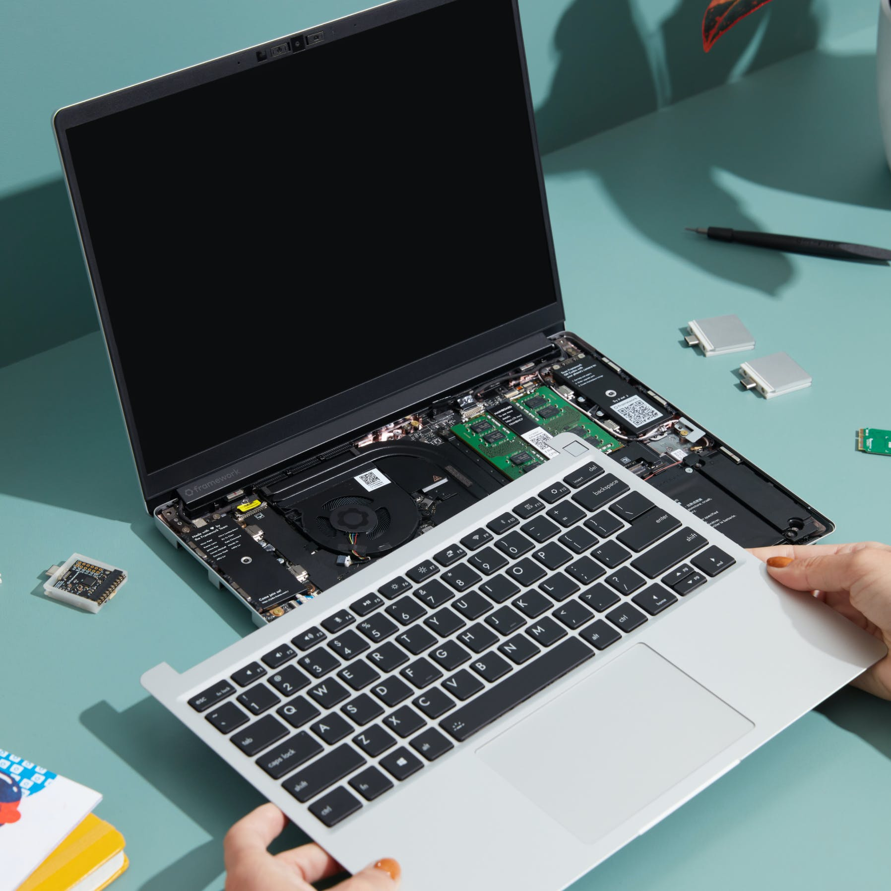 Installing the input cover on a Framework Laptop
