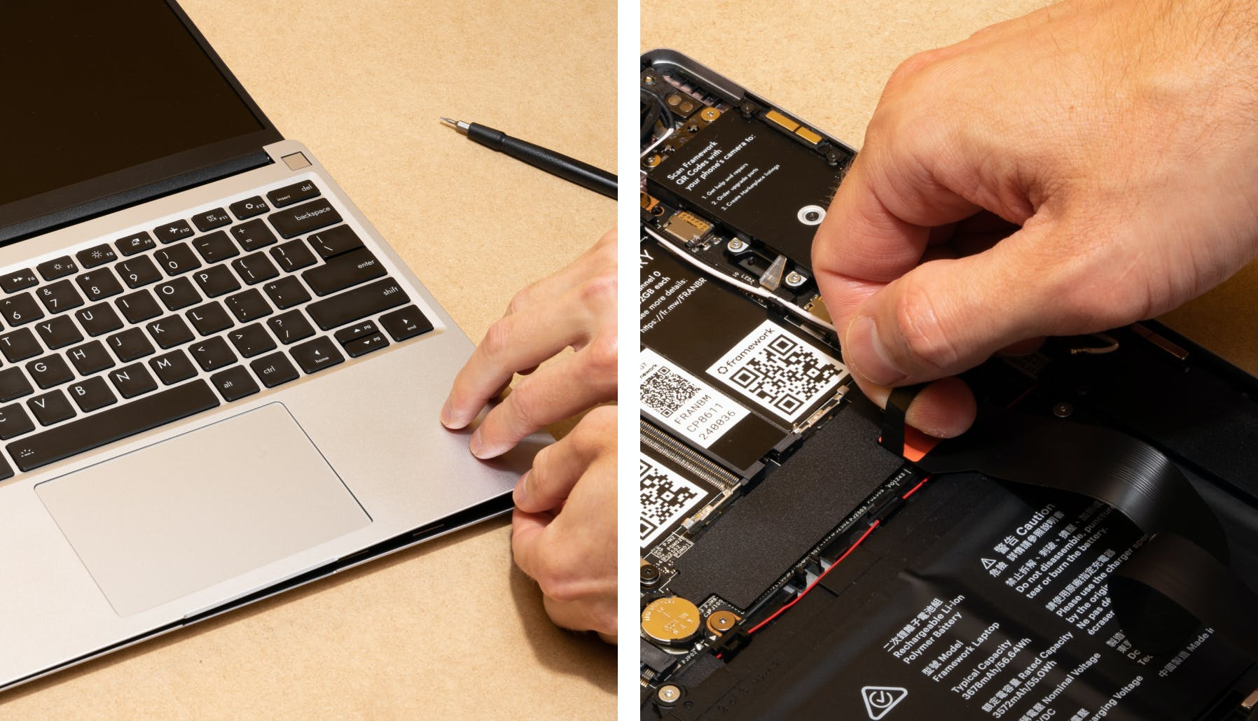 removing the top input cover and pulling the tab off that's inside the laptop