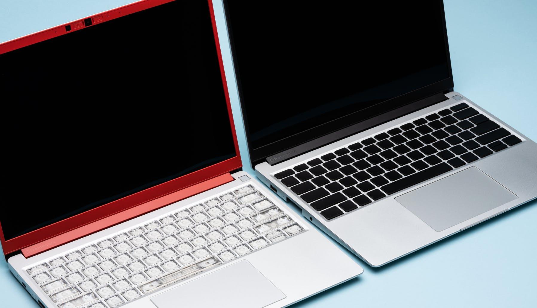 2 open laptops side by side