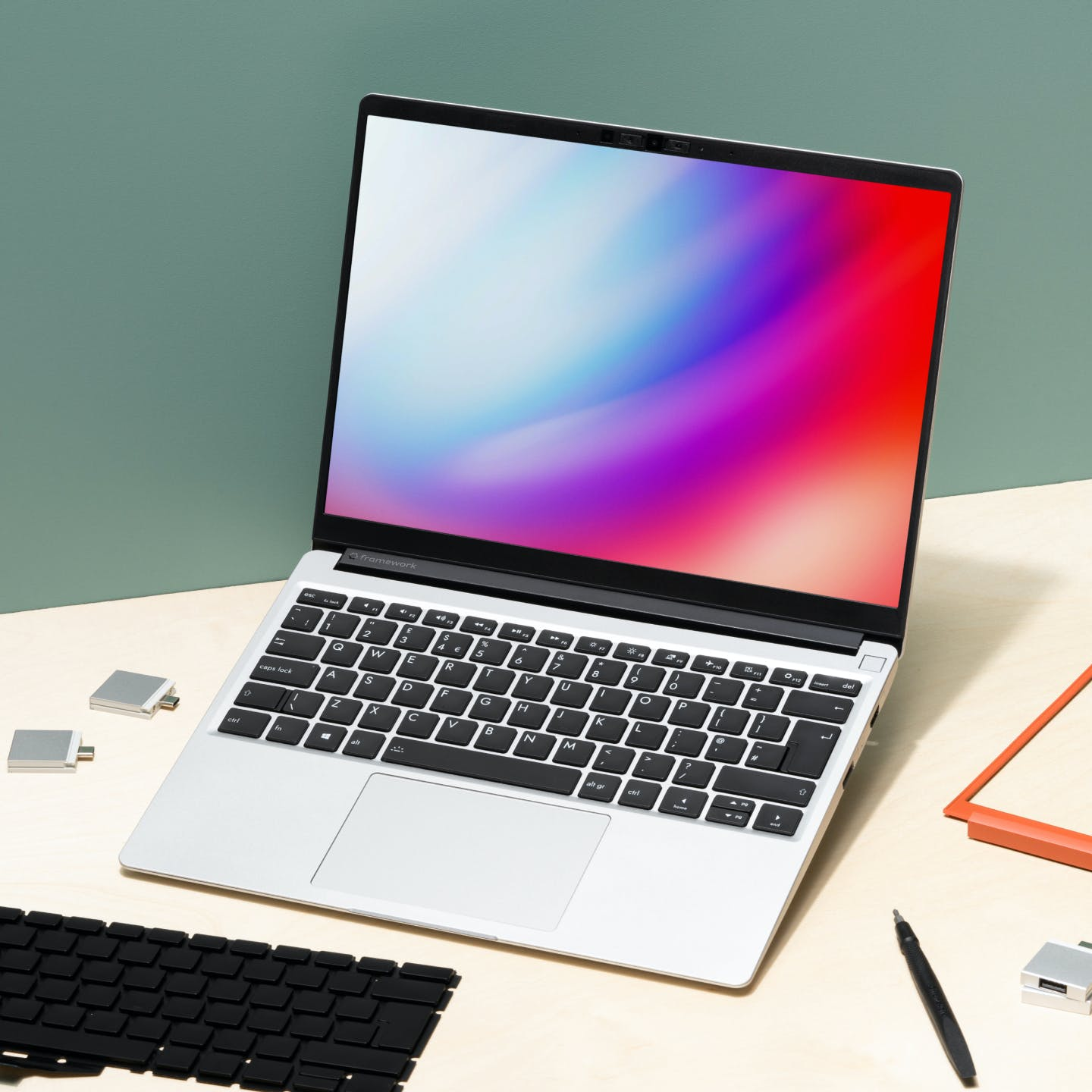 Framework laptop with parts
