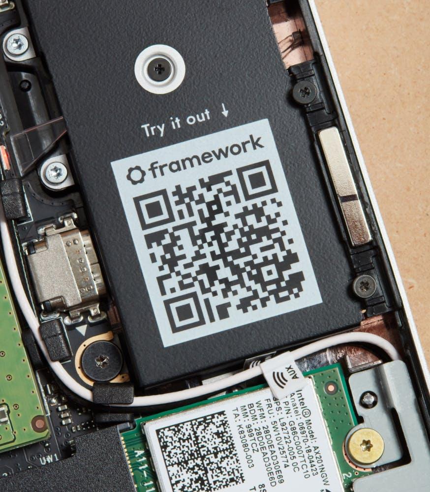 Framework Laptop scannable QR code in internal components