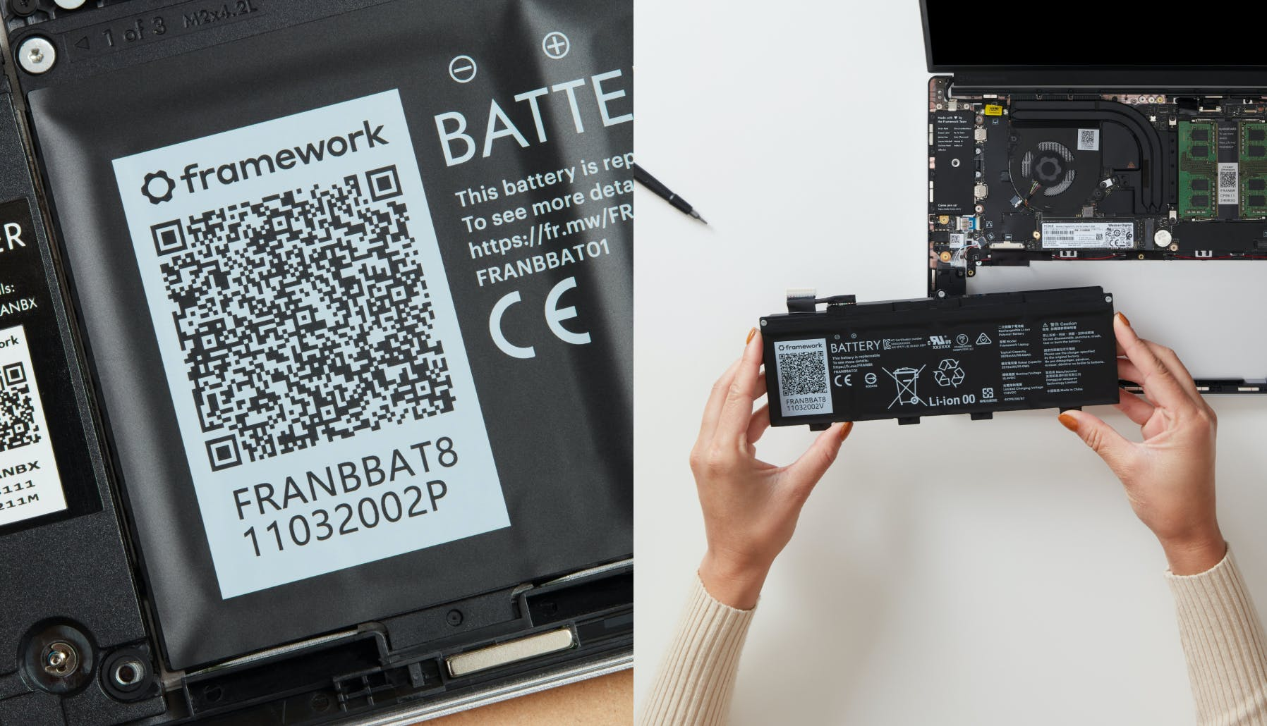 Split image. Left image shows a close-up of a QR code on the battery. Right image shows someone installing the battery into the Framework laptop.
