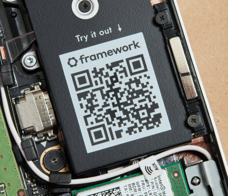 QR Code on Framework Laptop component