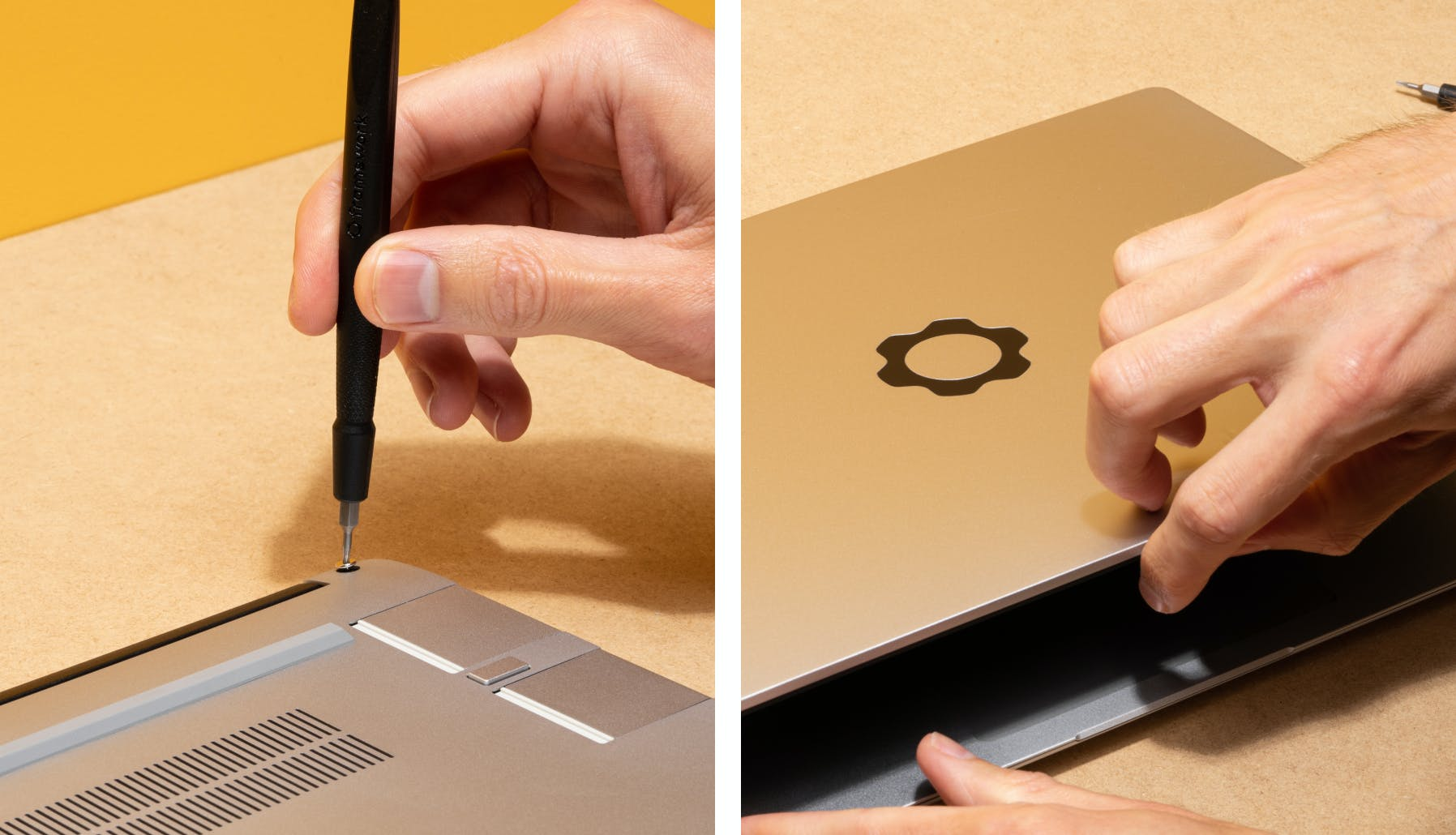 unscrewing the bottom of the laptop and opening up the laptop from the top