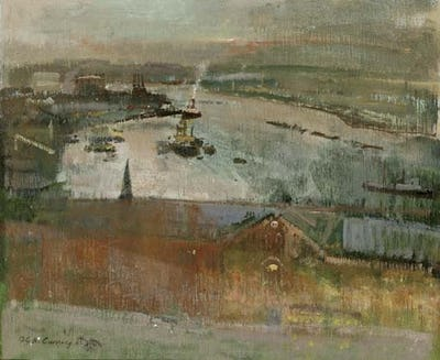 """Port at Twilight, Rochester, 1965, 20"""" × 24"""""""