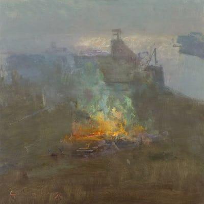 "Bonfire, Rye Harbour Mouth, 24"" × 24"""