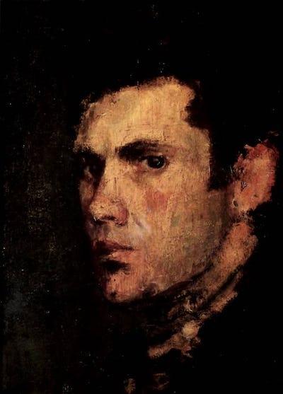 "Self Portrait, 1960, 14"" × 10"""