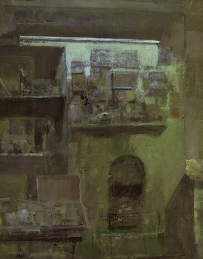 """Interior with Fireplace, Hythe, 24""""x 19"""""""