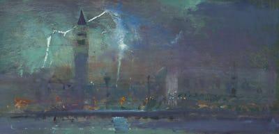 "Lightning, St Marco, Venice, 8"" x 16"""