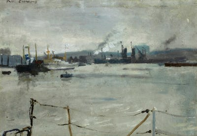 """Boats on the Medway, 7"""" × 10"""""""
