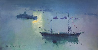 Fowey Harbour, 2007, Image and paper size: 23.5 x 45.5 cm