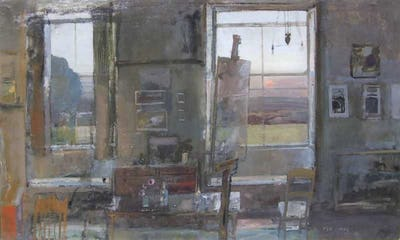 "Studio with Setting Sun, 1962, 30"" × 50"""