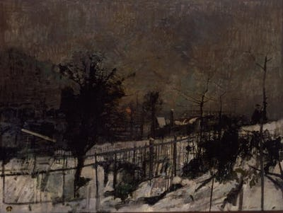 """Snowscape and Thorn Tree, 1953, 36"""" × 48"""""""