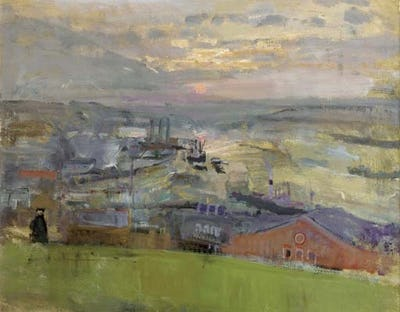 """Hilltop View at Sunset, Rochester, 16"""" × 20"""""""