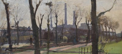 """Park with Battersea Power Station Beyond, 14"""" × 30"""""""