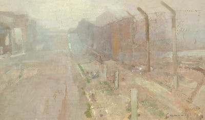 "Street Scene, The Army Ranges, Hythe, 10"" × 15"""