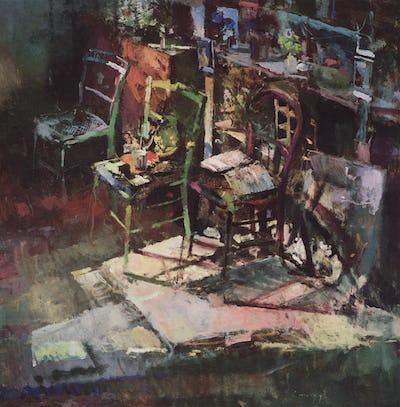 "Studio, Chairs, 1989, 36"" × 36"""
