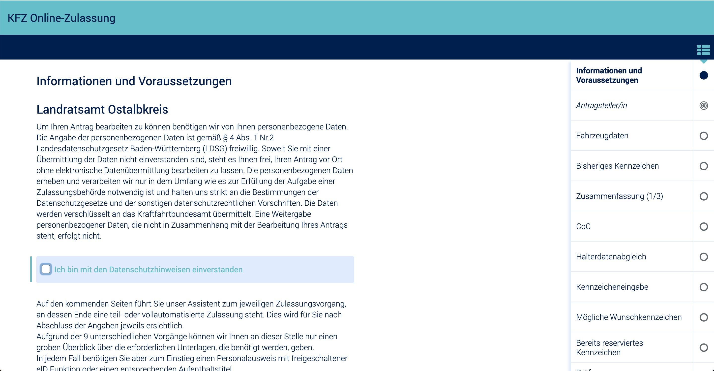 Online-Portal der Zulassungsbehörde
