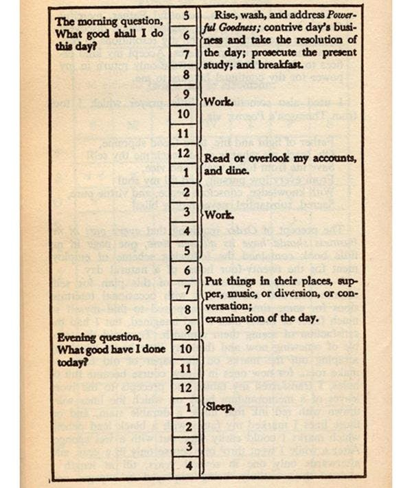 Benjamin Franklin Daily Routine