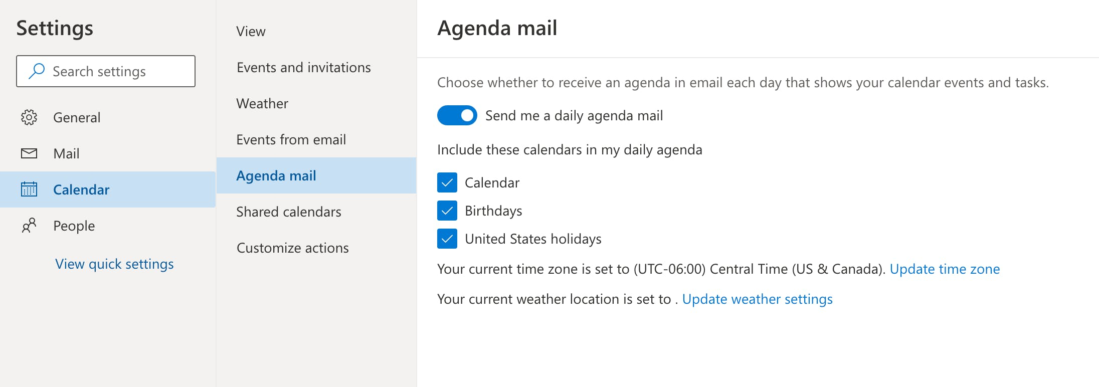 Outlook Agenda Mail