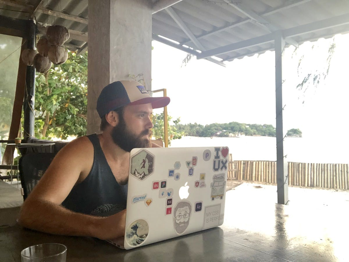 Working with macbook in coworking space
