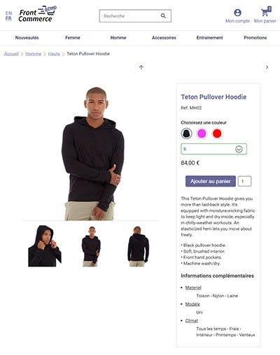 Démonstration d'une page produit avec sélection de la couleur et de la taille d'un pull