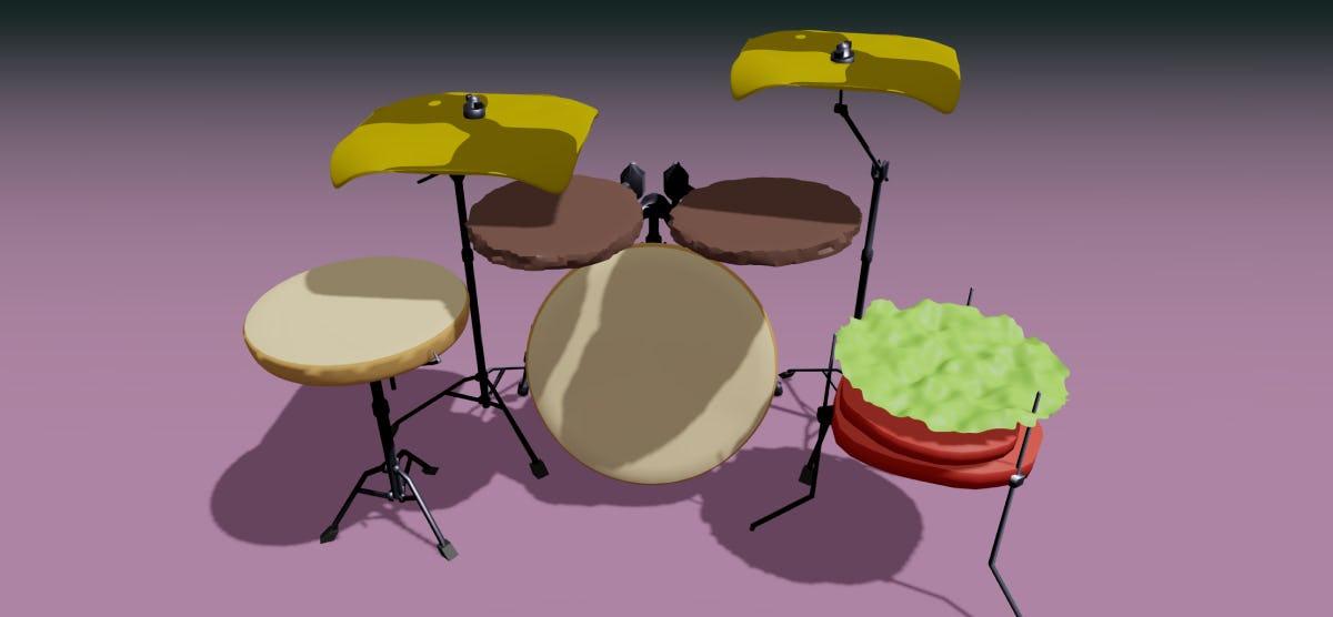 Let's Build a 3D Cheesburger Drum Kit!