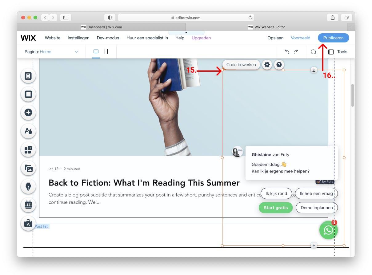 wix whatsapp chat widget publiceren