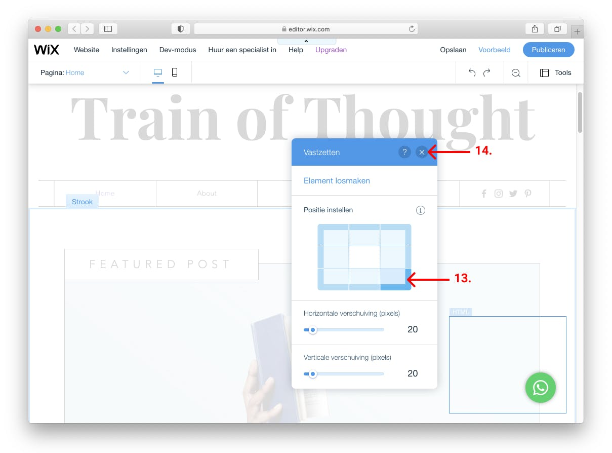 wix whatsapp chat widget rechtsonder op pagina