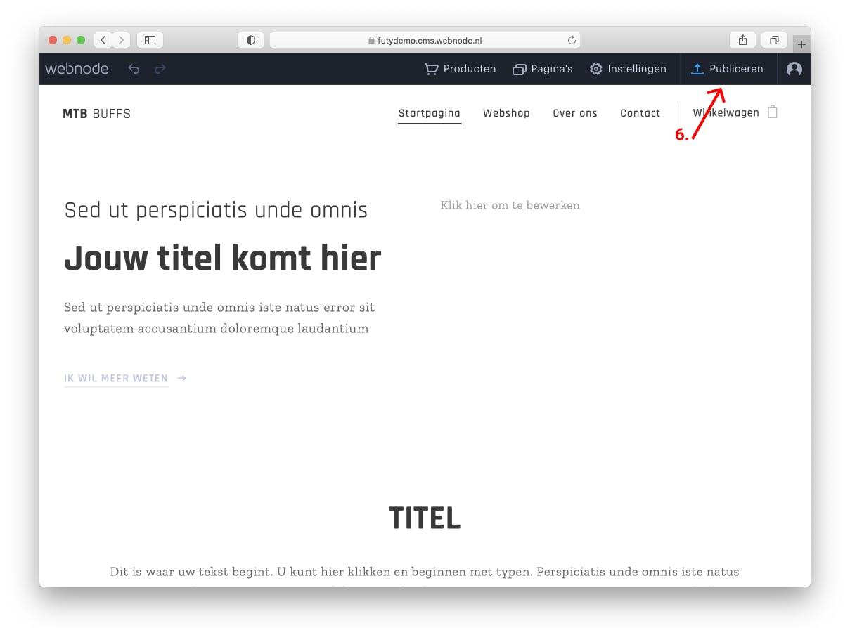 Webnode installatie publiceren