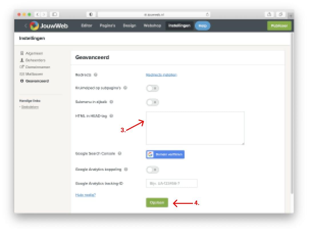 jouwweb whatsapp chat widget html in head-tag toevoegen
