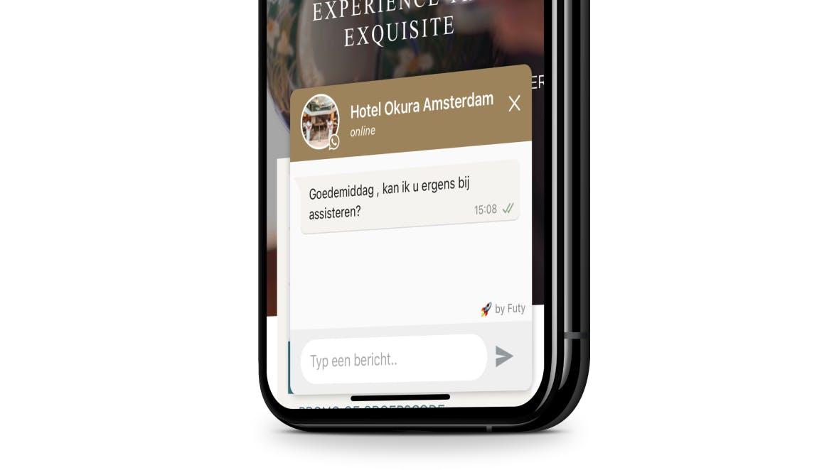 whatsapp widget okura mobiele website