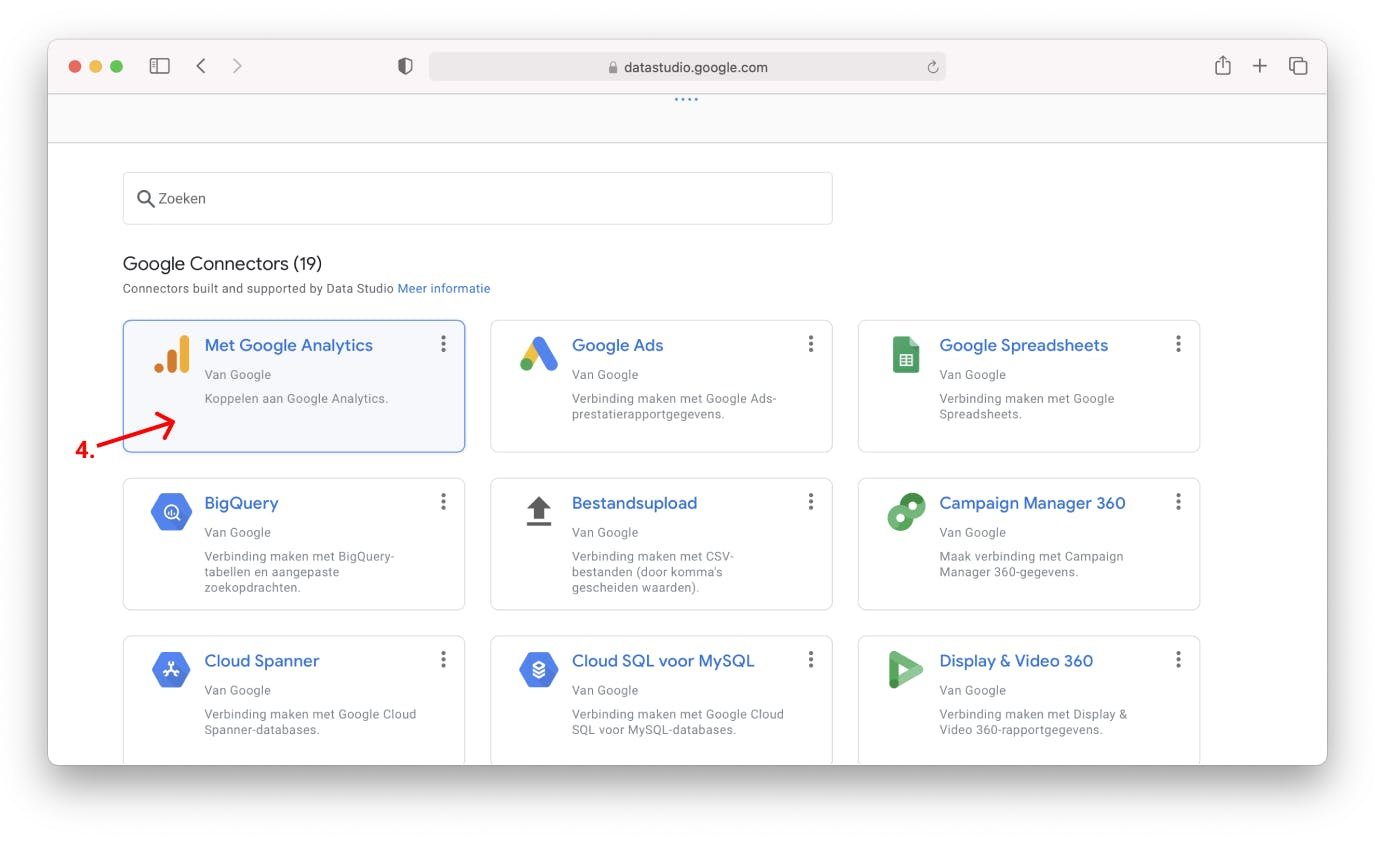Google analytics account koppelen