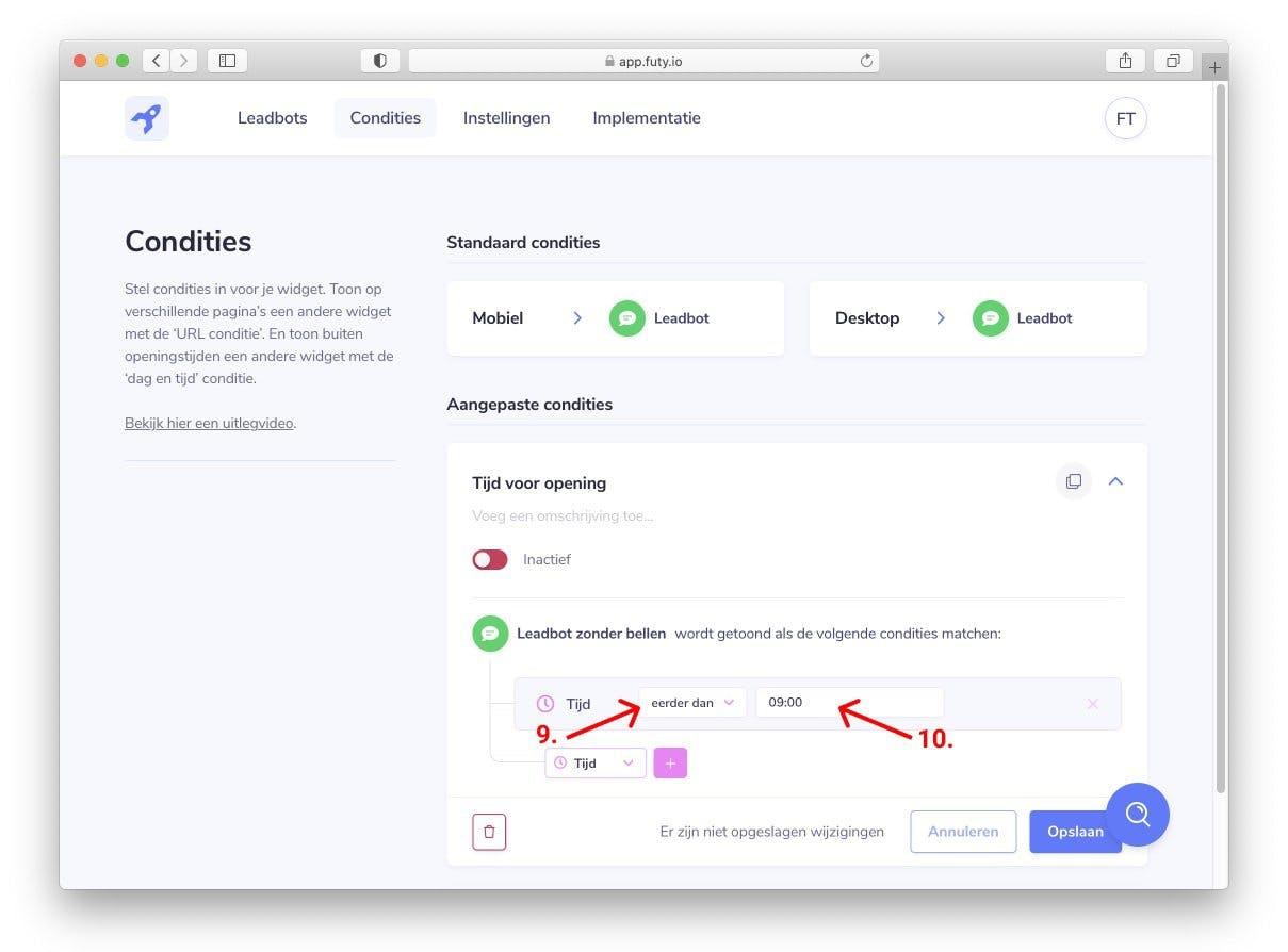 whatsapp chat widget website tijd selecteren