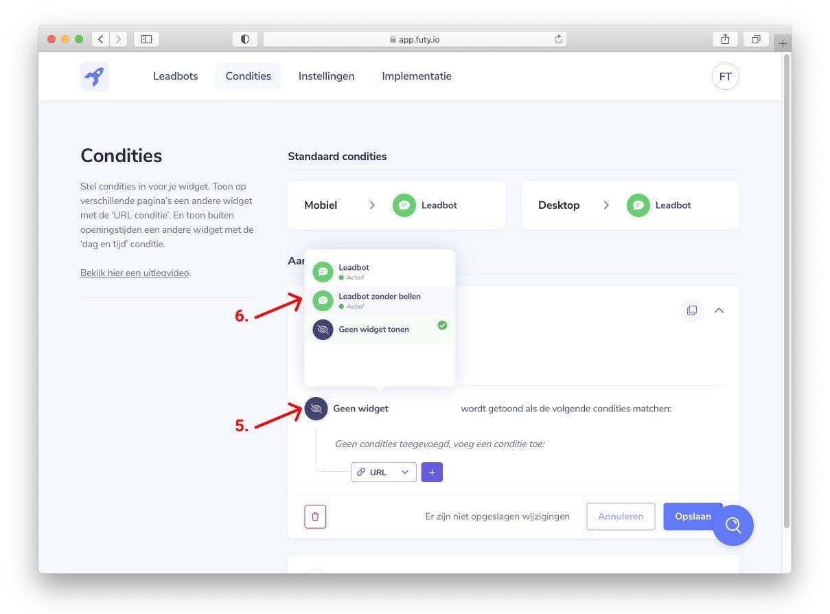 whatsapp chat widget website openingstijden selecteren