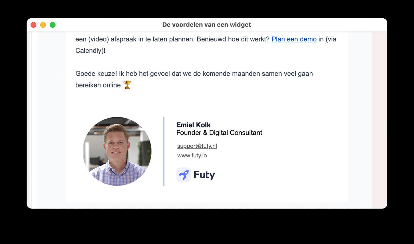 email handtekening met foto automation