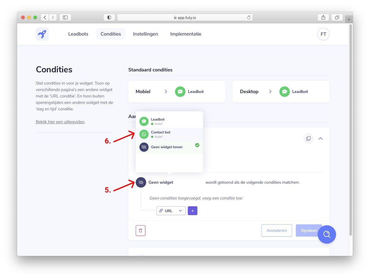whatsapp chat widget website per pagina selecteren