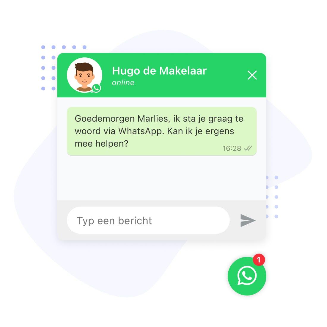 whatsapp chat widget website makelaar