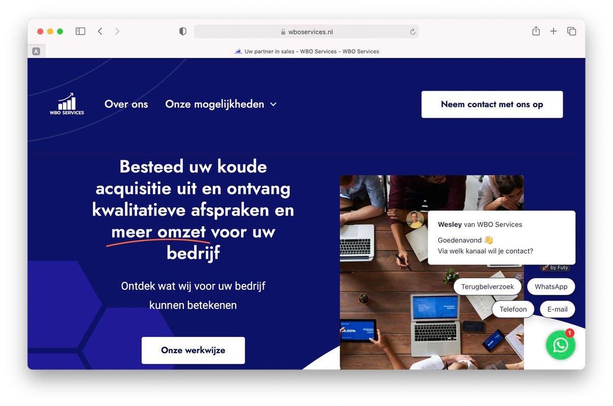 leads verkoop afspraken buitendienst website wbo services