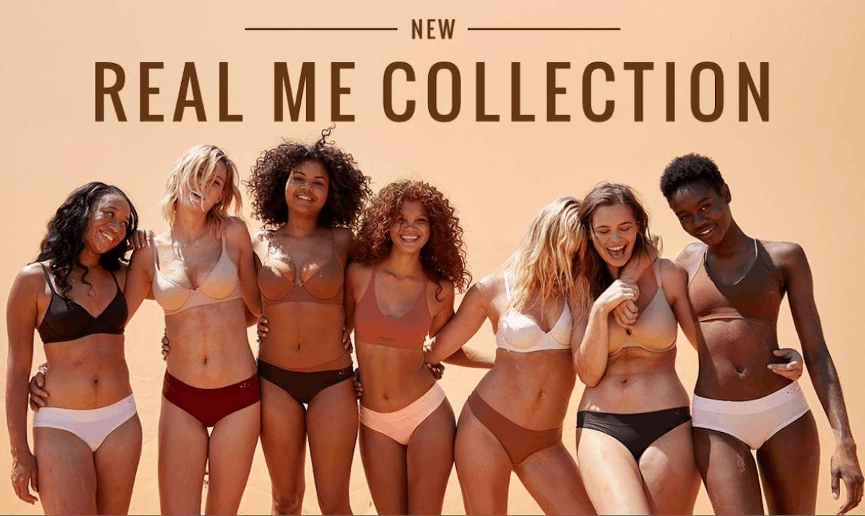 A group of confident women in their underwear against a beige background.