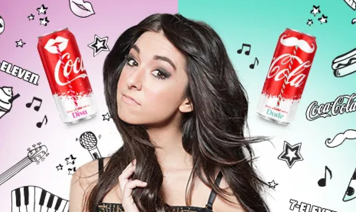 7-Eleven and Coca-Cola ad featuring a young white woman.
